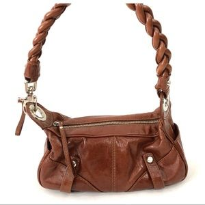 Francesco Biasia Brown Braided Strap Leather Purse